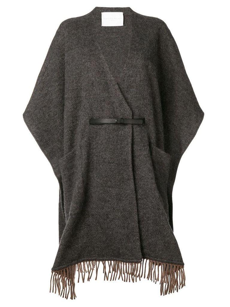 Fabiana Filippi fringed cape coat - Grey