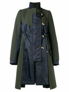 Sacai contrast panel coat - Green