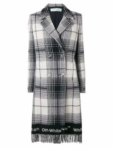 Off-White double-breasted checked coat - Grey