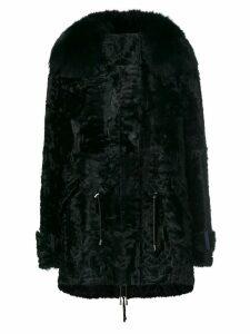 Yves Salomon trim coat - Black