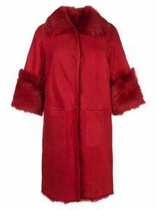 Desa 1972 shearling oversized coat - Red