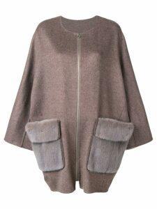 Liska mink fur pocket coat - Brown