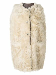 Marni furry sleeveless coat - NEUTRALS
