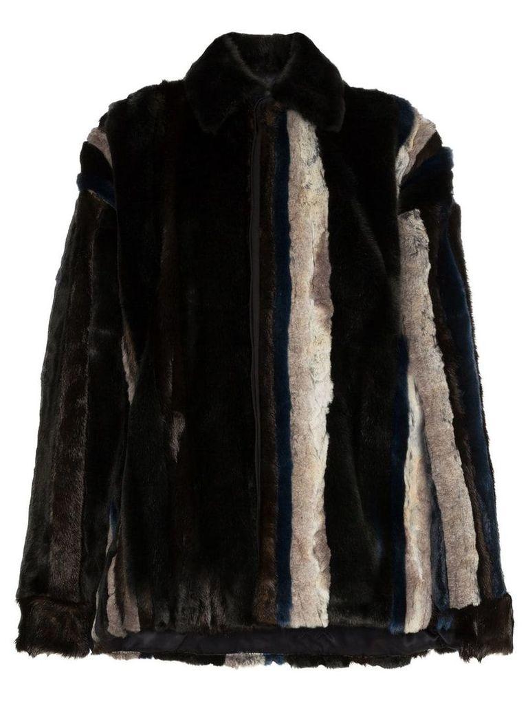 Y / Project stripe faux fur jacket - Unavailable