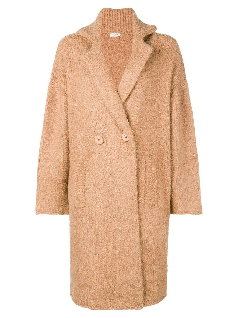 Twin-Set double breasted shearling jacket - Nude & Neutrals