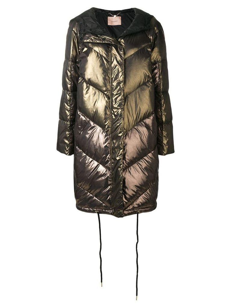 Twin-Set long puffer jacket - Brown