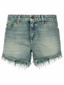 Saint Laurent distressed ripped shorts - Blue