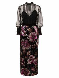 Marchesa Notte sequin embellished dress - Black