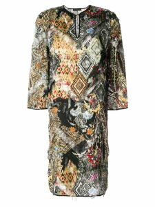 Etro frayed abstract print dress - Black