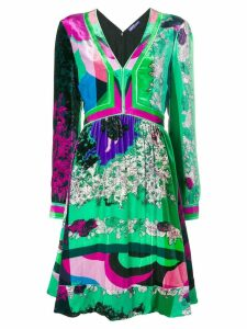 Emilio Pucci v-neck long sleeved shift - Green