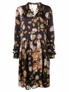 Junya Watanabe floral oversized shirt dress - Brown