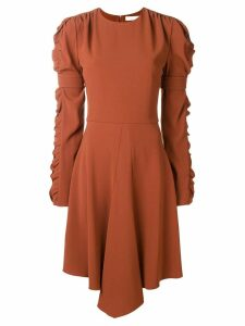 Chloé ruffled sleeve flared dress - Brown