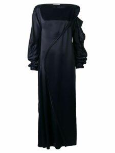 Jil Sander long satined dress - Blue