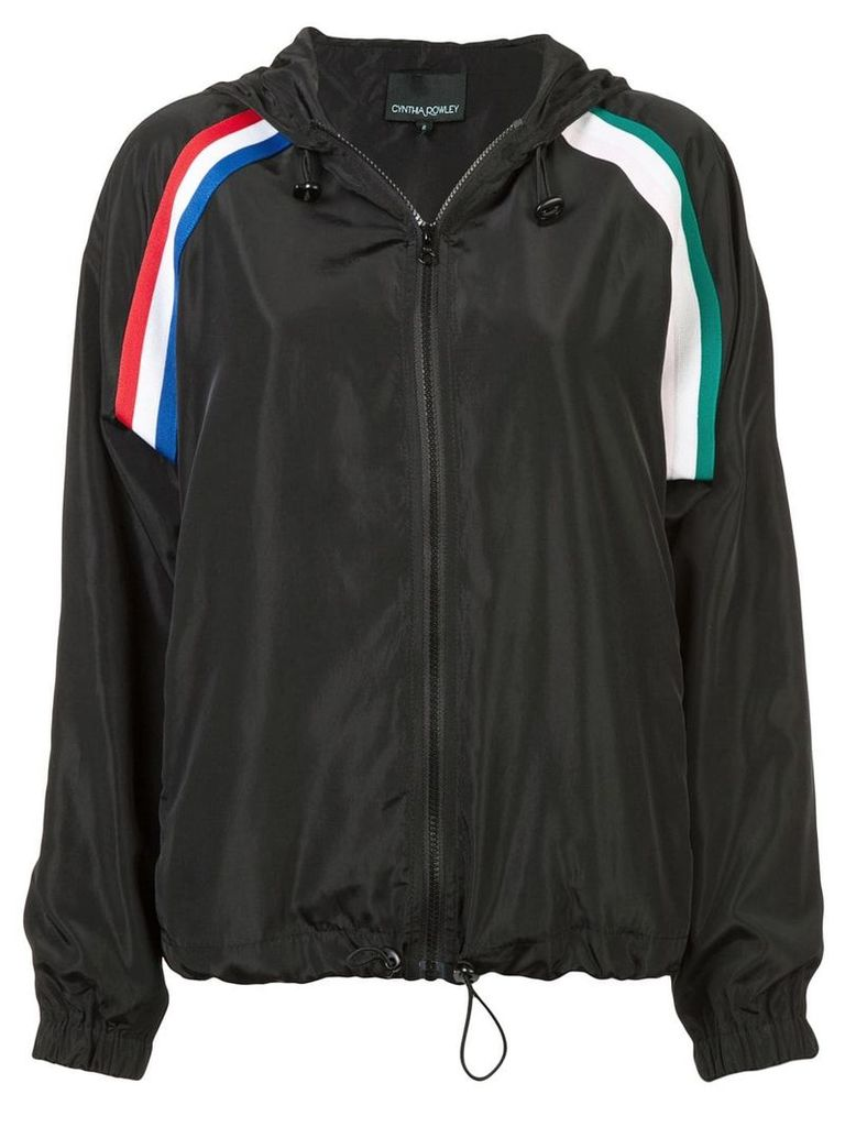 Cynthia Rowley strip hooded jacket - Black