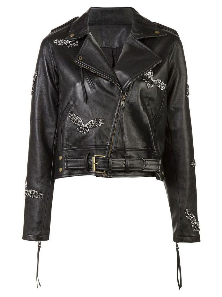 Nicole Miller eagle motorcycle jacket - Black
