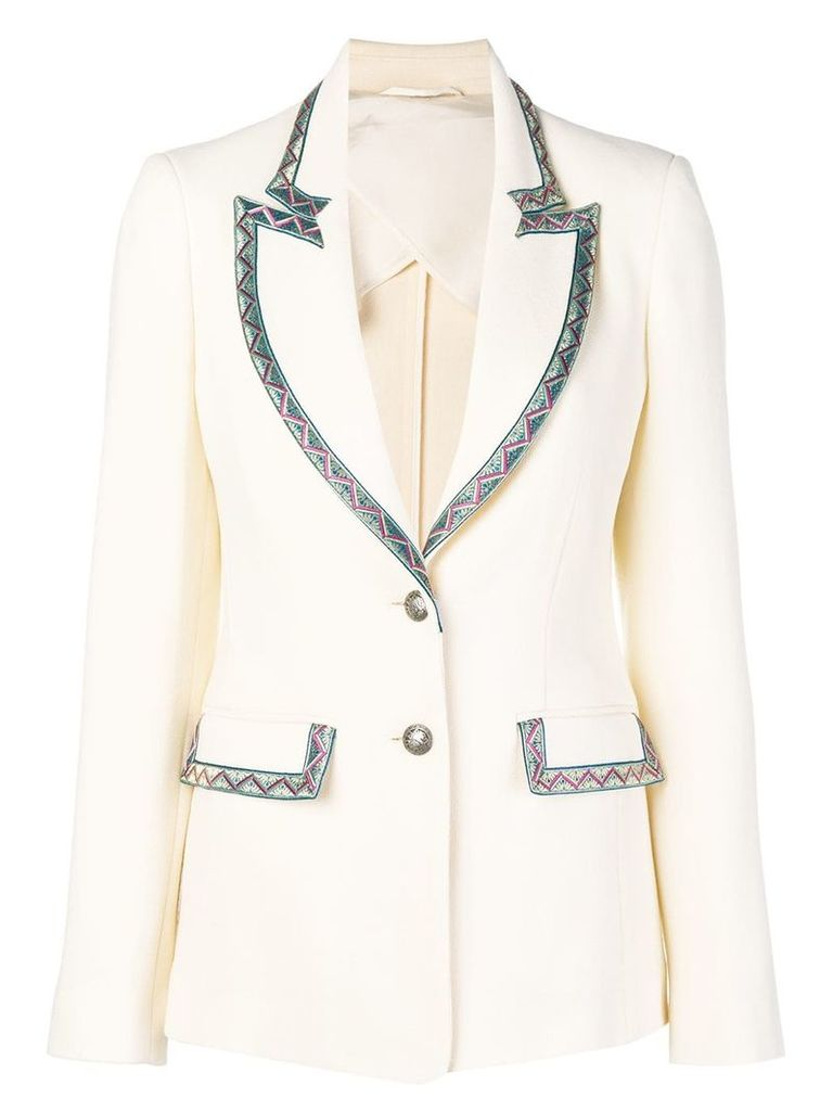 Etro contrast trim jacket - White
