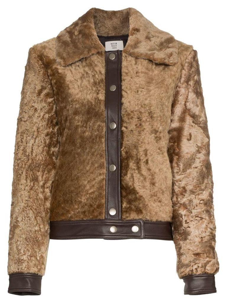 Maryam Nassir Zadeh leather panel shearling bomber jacket - Brown