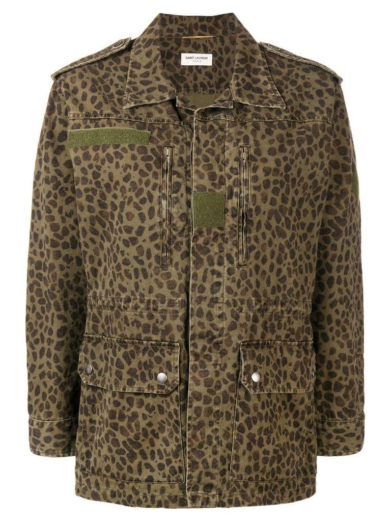 Saint Laurent leopard print jacket - Green