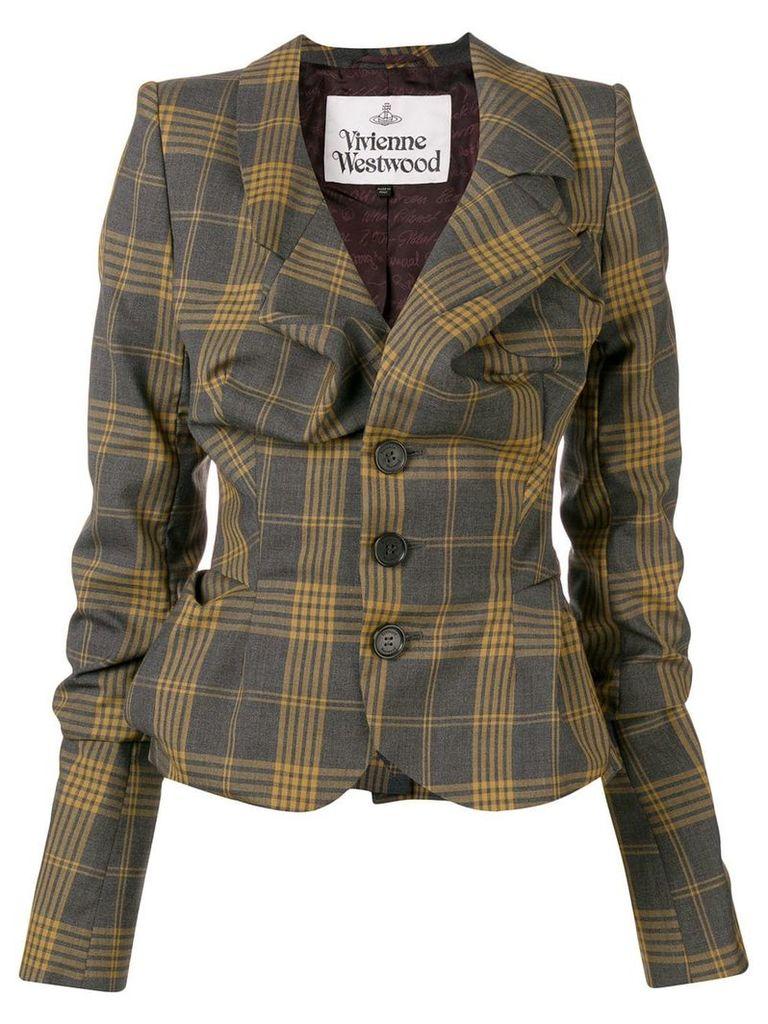Vivienne Westwood gathered check jacket - Grey