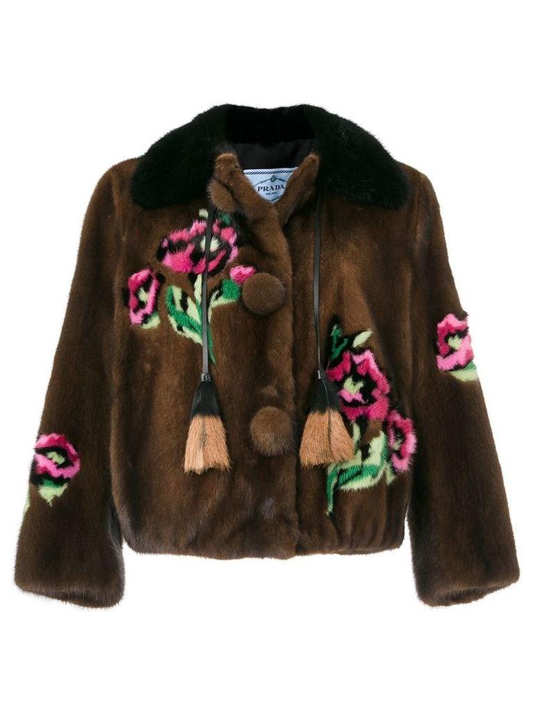Prada floral pattern tassel detail jacket - Brown