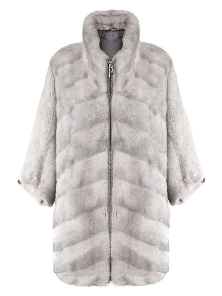 N.Peal front zip cape - Grey