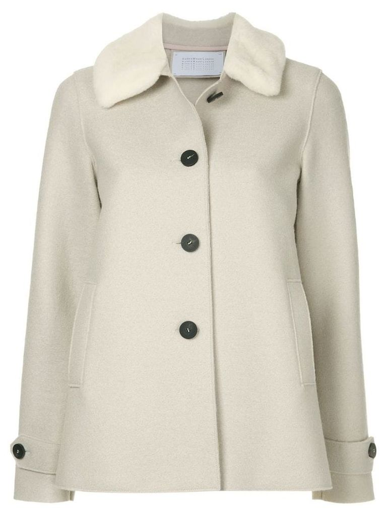 Harris Wharf London Loden faux fur trimmed jacket - Nude & Neutrals