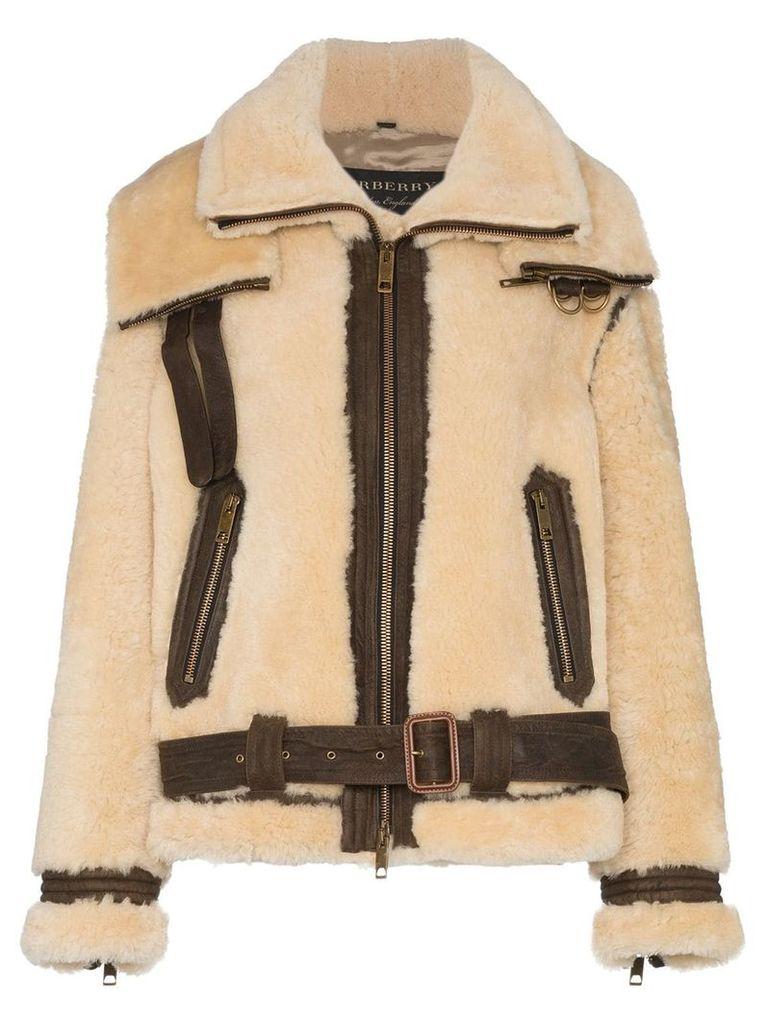 Burberry Oversized Shearling Aviator Jacket - Brown