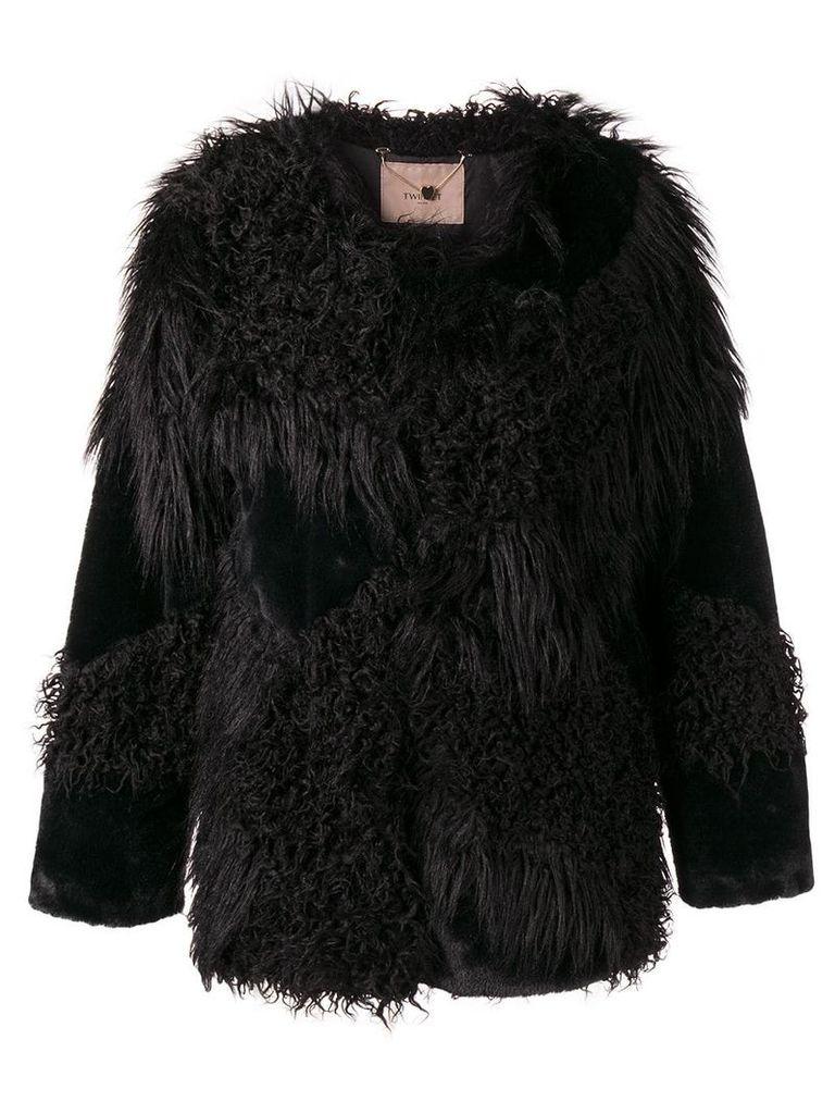 Twin-Set faux fur patch jacket - Black