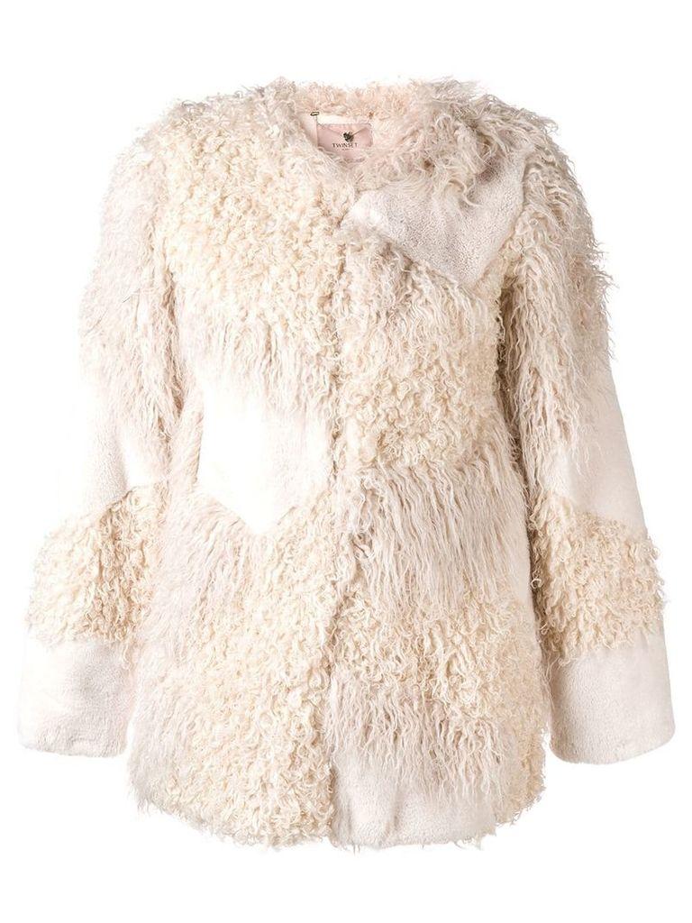 Twin-Set faux fur patch jacket - White