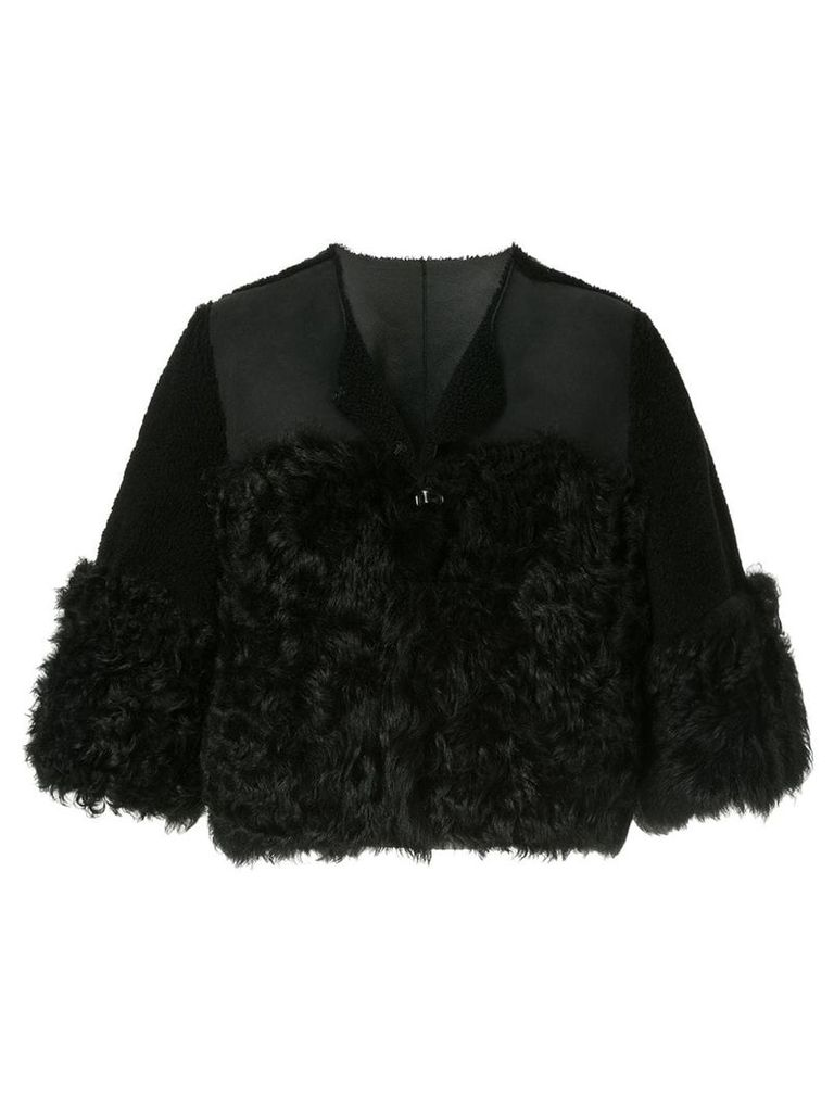 Red Valentino cropped shearling jacket - Black