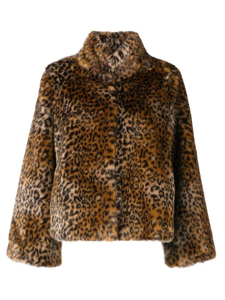 Twin-Set leopard print fur jacket - Brown