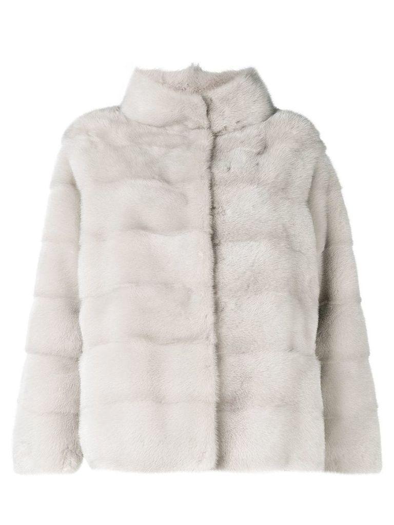 Simonetta Ravizza classic collar fur jacket - Grey