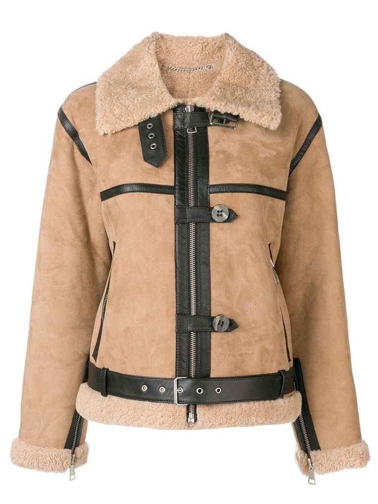 Victoria Victoria Beckham shearling fitted jacket - Nude & Neutrals