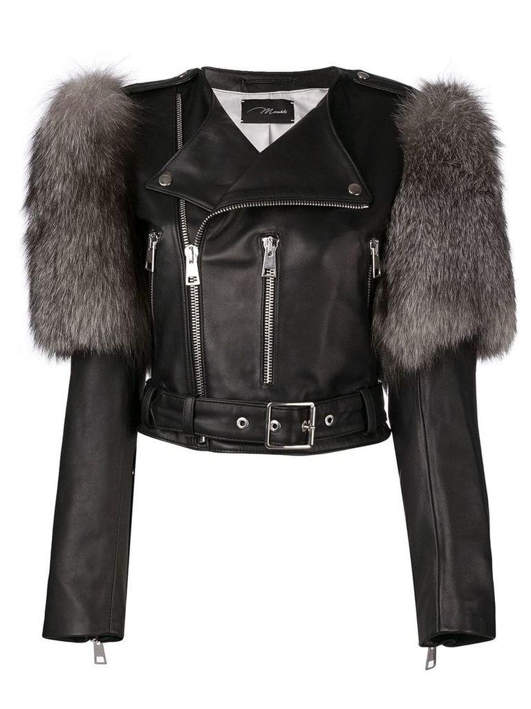 Manokhi fur trim biker jacket - Black