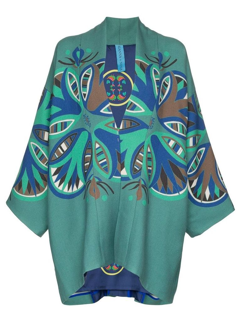Rianna + Nina Agnes print wool jacket - Green