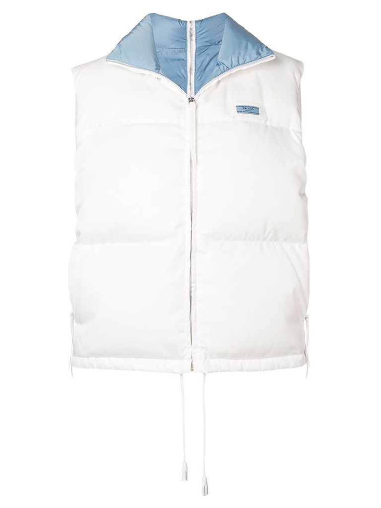 Prada padded high neck gilet - White