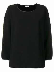 Alberto Biani satin trim crepe blouse - Black