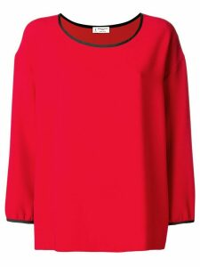 Alberto Biani satin trim crepe blouse - Red