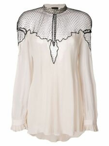 Just Cavalli sheer panel blouse - NEUTRALS