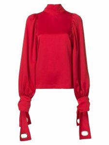 Self-Portrait eyelet-sleeve blouse - Red