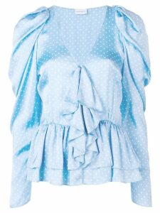 Magda Butrym Cefalu dotted ruffle blouse - Blue