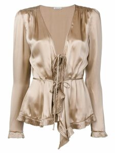 Tomas Maier tied silk ruffled blouse - NEUTRALS