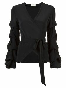 Nicole Miller tidal pleat wrap top - Black