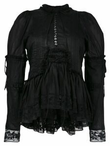 Dsquared2 ruffle trim lace blouse - Black