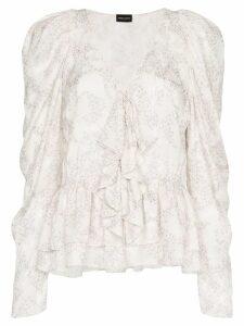 Magda Butrym Cefalu V-Neck silk Blouse - White