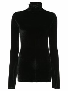 Unravel Project velour mock neck blouse - Black