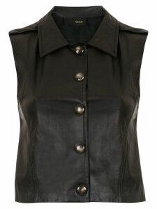 Andrea Bogosian leather buttoned blouse - Black