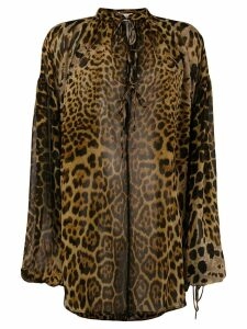Saint Laurent Leopard Print Silk Blouse - Brown