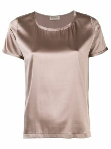 Blanca Vita short-sleeve metallic blouse - Brown