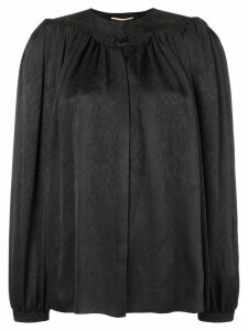 Saint Laurent embroidered smock blouse - Black